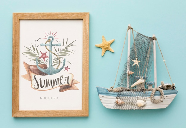 Concepto de verano con barco