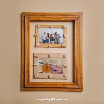 Concepto de verano con marcos de madera