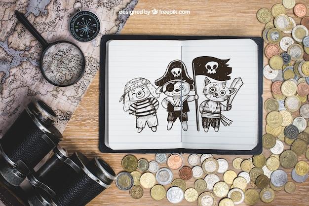 Concepto de viaje con monedas