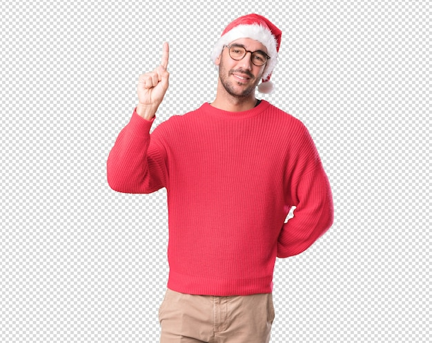 Conceptos de navidad - hombre joven gesticulando