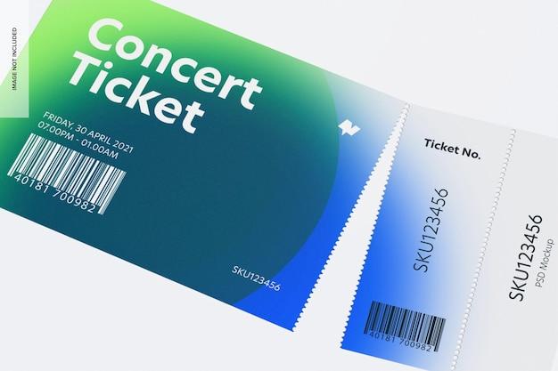 Concertkaartje mockup, close-up