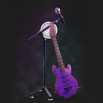 Concertpodium met microfoon en gitaar.