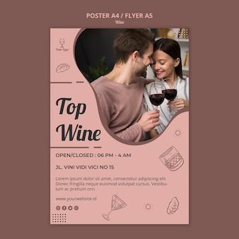 Concetto del modello del manifesto del vino