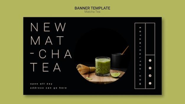 Concetto del modello dell'insegna del tè di matcha