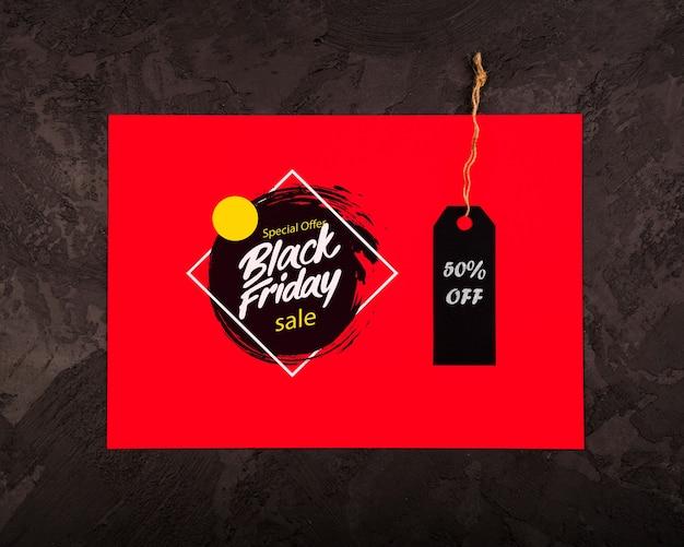 Concetto di black friday con il prezzo da pagare