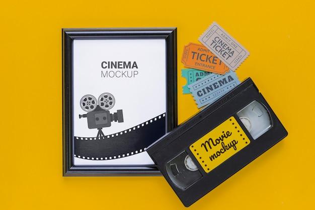 Concetto di cinema con nastro adesivo vecchio