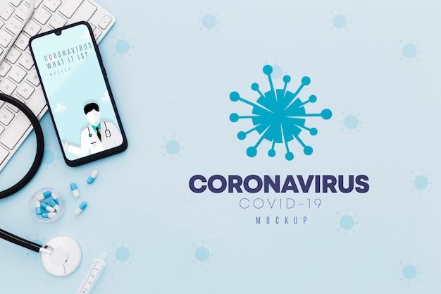 Concetto di coronavirus scrivania medica