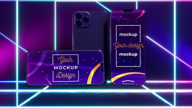 Concetto di dispositivo al neon mock-up
