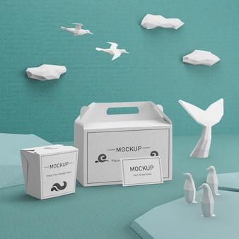 Concetto di giorno dell'oceano con sacchi di carta sostenibili