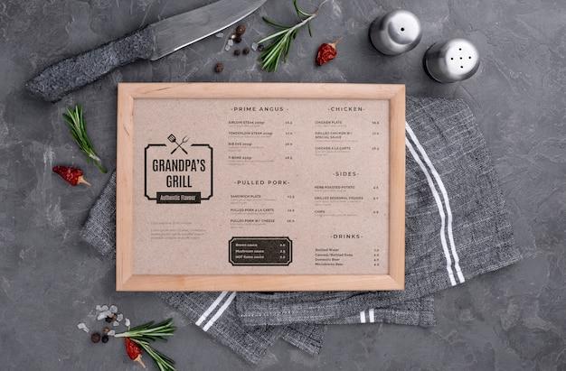 Concetto di menu del ristorante mock-up