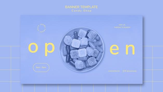 Concetto di modello di banner per negozio di caramelle