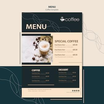 Concetto di modello di menu con caffè