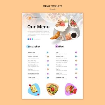 Concetto di modello di menu del brunch