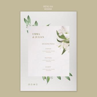 Concetto di modello di menu di nozze