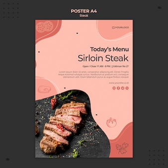 Concetto di modello di poster di bistecca