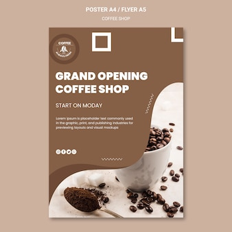 Concetto di modello di poster di caffetteria