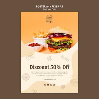 Concetto di modello di poster di cibo americano