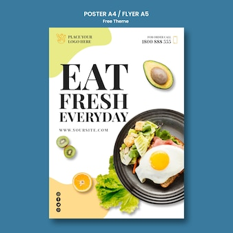 Concetto di modello di poster di cibo sano