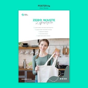 Concetto di modello di poster zero rifiuti