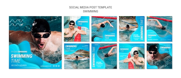 Concetto di nuoto per post sui social media