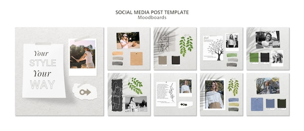 Concetto di post social media con moodboard