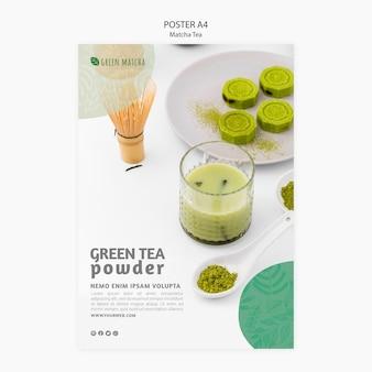 Concetto di poster di tè matcha