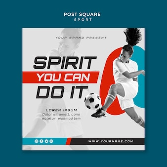 Concetto di sport design quadrato post