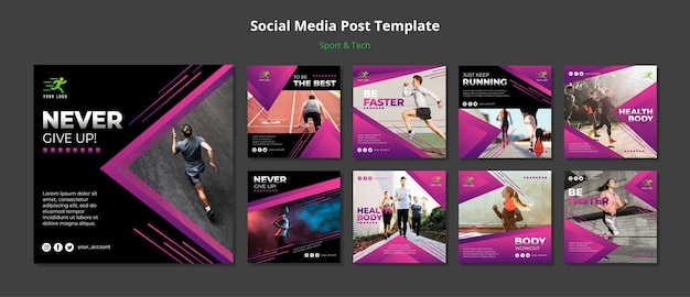 Concetto di sport e tecnologia social media post mock-up
