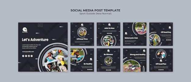 Concetto di sport social media modello di post
