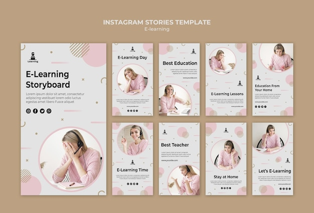 Concetto di storie di instagram di e-learning