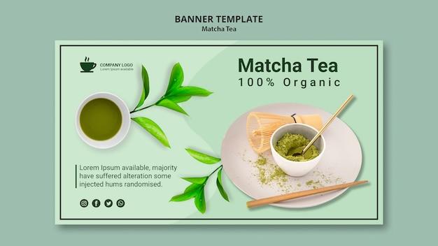 Concetto di tè matcha per modello di banner