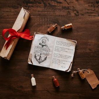 Concetto di vela d'epoca con il libro