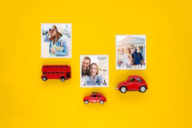 Concetto di viaggio piatto laici con giocattoli auto