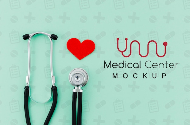 Concetto medico di vista dall'alto con mock-up