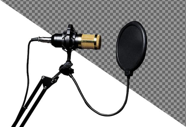 Condensador de micrófono, micrófono dorado con filtro colgado sobre la habitación de la pared que absorbe el sonido, aislado. condensador de micrófono colgante para vlog y altavoz mc de redes sociales