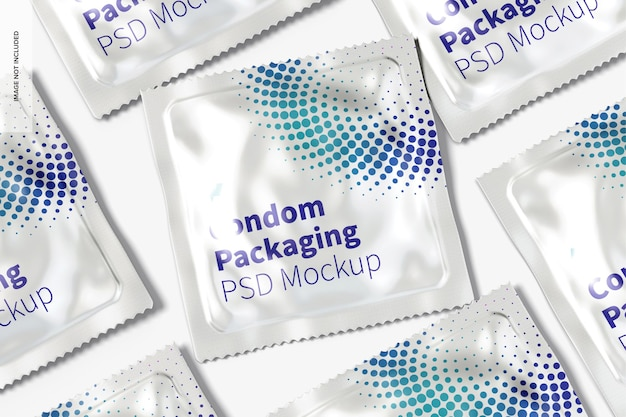 Condoom verpakking mockup, close-up