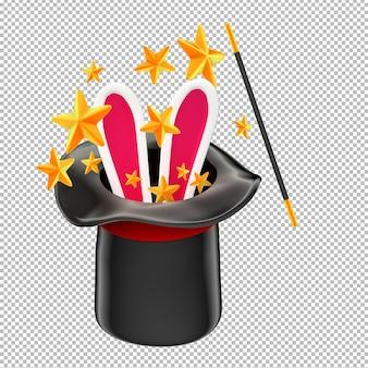 Conejo con sombrero de mago