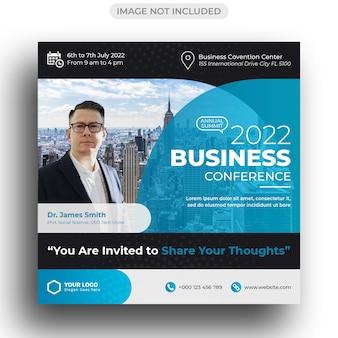 Conferencia de negocios corporativos publicación en redes sociales y plantilla de publicación de instagram