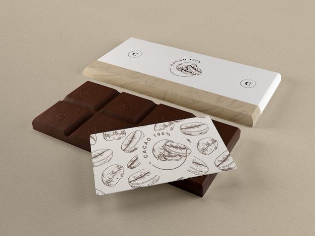 Confezione di carta per mock-up al cioccolato