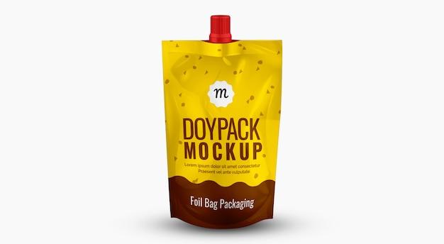 Confezione mockup food doypack foil plastica giallo