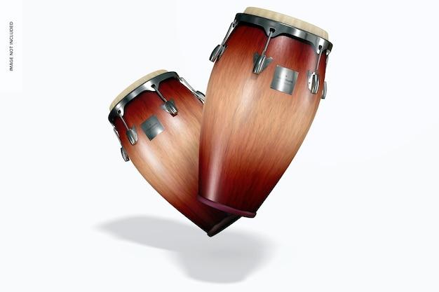 Conga drums mockup, falling
