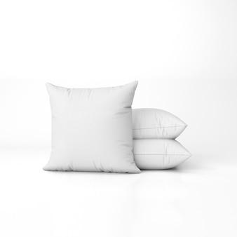 Conjunto de almohadas en blanco aislado