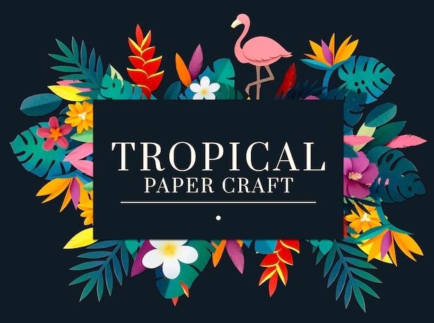 Conjunto de artesanía de papel tropical