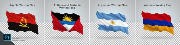 Conjunto de banderas de angola, antigua, argentina, armenia bandera en transparente