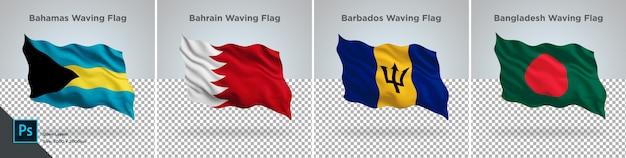 Conjunto de banderas de bahamas, bahrein, bangladesh, barbados bandera en transparente