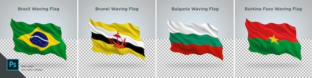 Conjunto de banderas de brasil, brunei, bulgaria, burkina bandera en transparente