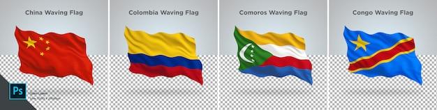 Conjunto de banderas de china, colombia, comoras, congo, bandera en transparente
