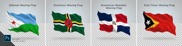 Conjunto de banderas de djibouti, dominica, república dominicana, bandera de timor oriental en transparente
