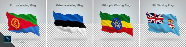 Conjunto de banderas de eritrea, estonia, etiopía, fiji bandera en transparente