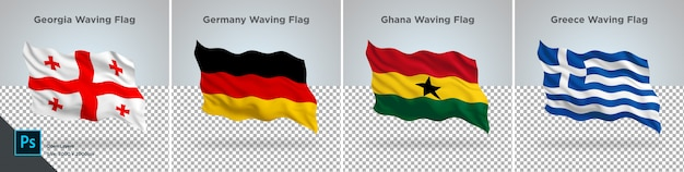 Conjunto de banderas de georgia, alemania, ghana, grecia bandera en transparente